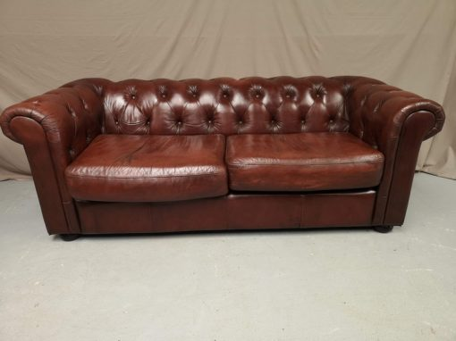 CANAPE CHESTERFIELD CUIR MARRON BRUN