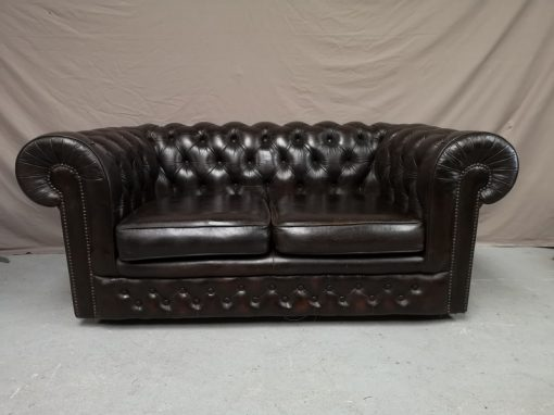 CANAPE CHESTERFIELD MARRON DEUX PLACES