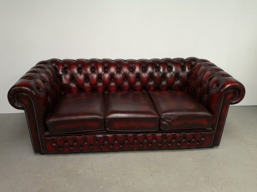 CANAPE CHESTERFIELD CUIR BORDEAUX VINTAGE