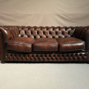 Canapé chesterfield cuir marron cigare
