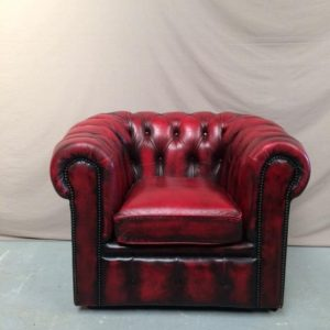 Fauteuil chesterfield cuir rouge