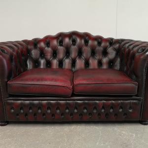 Canapé chesterfield cuir bordeaux deux places