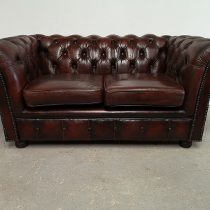 Canapé chesterfield cuir marron deux places